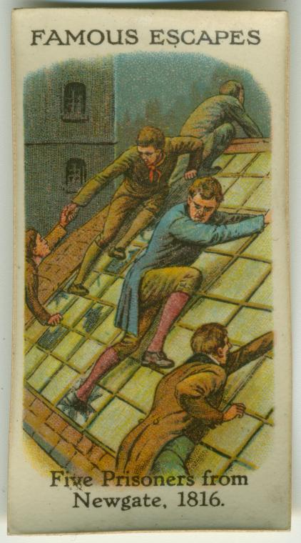 Escape of prisoners from Newgate. 20th century cigarette card via NYPL