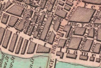 map showing st martins lane off upper thames street, london