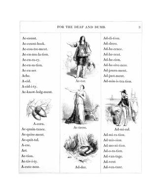 Sample page from From An illustrated vocabulary for the use of the deaf and dumb (1857)