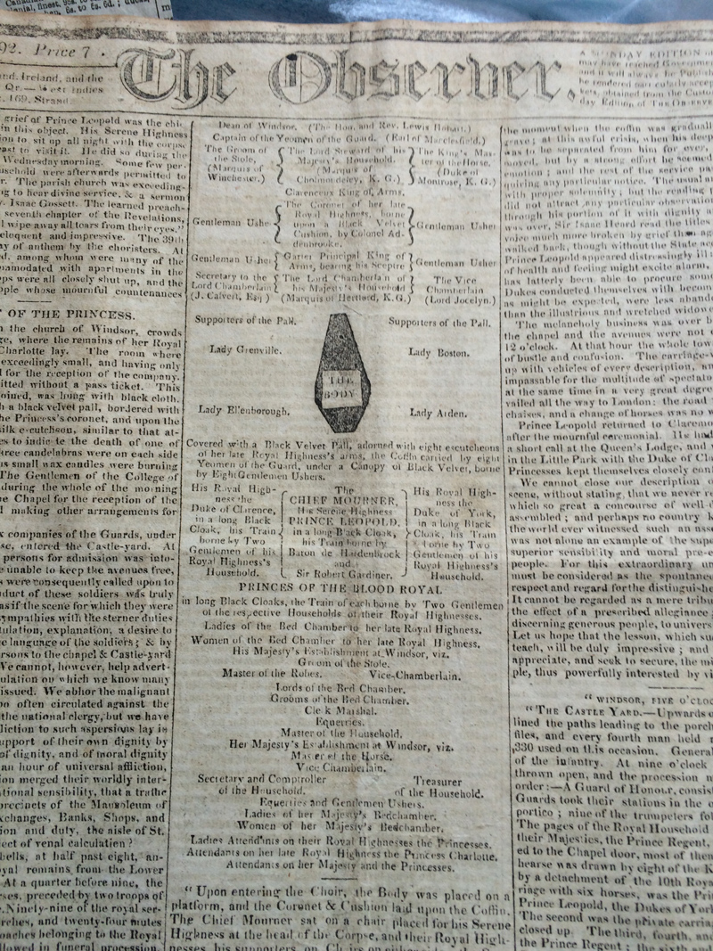 observer coverage of the funeral of princess charlotte 1817