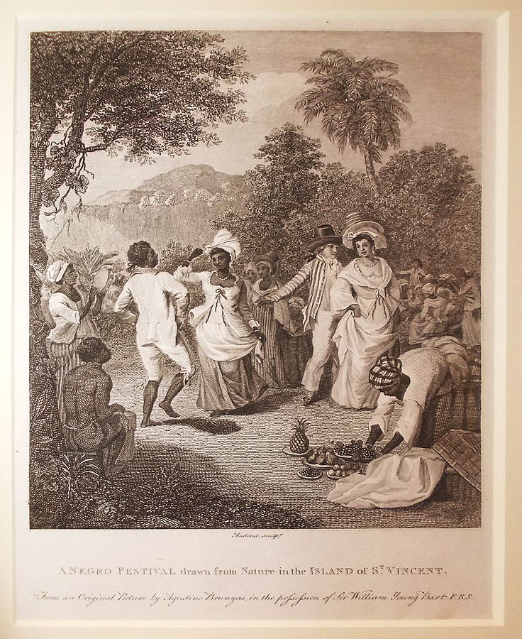 """A Negro Festival drawn from Nature in the Island of St Vincent"" by after Agostino Brunias"