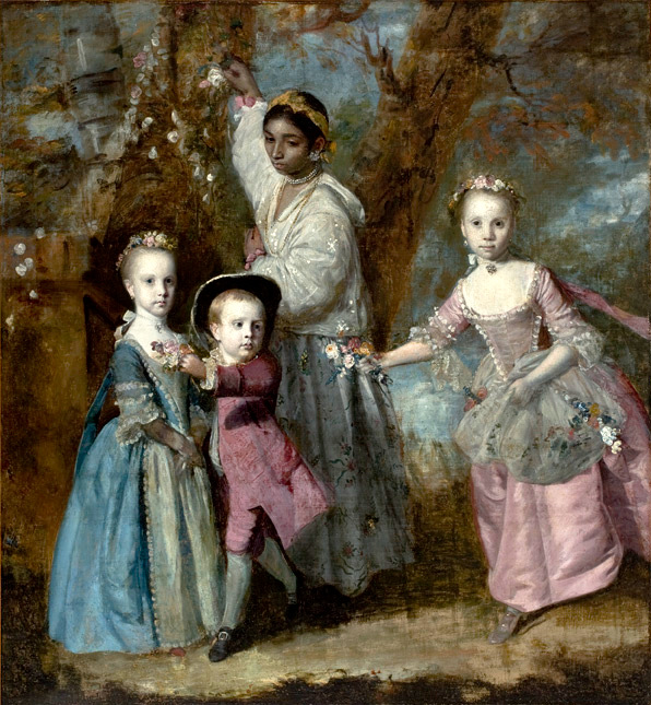 Painting. A black nursemaid cares for Elisabeth, Sarah and Edward, Children the children of Edward Holden Cruttenden. Joshua Reynolds, 1763
