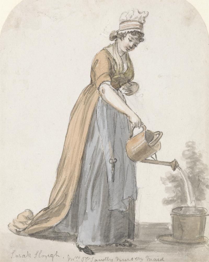nursemaid watering a plant