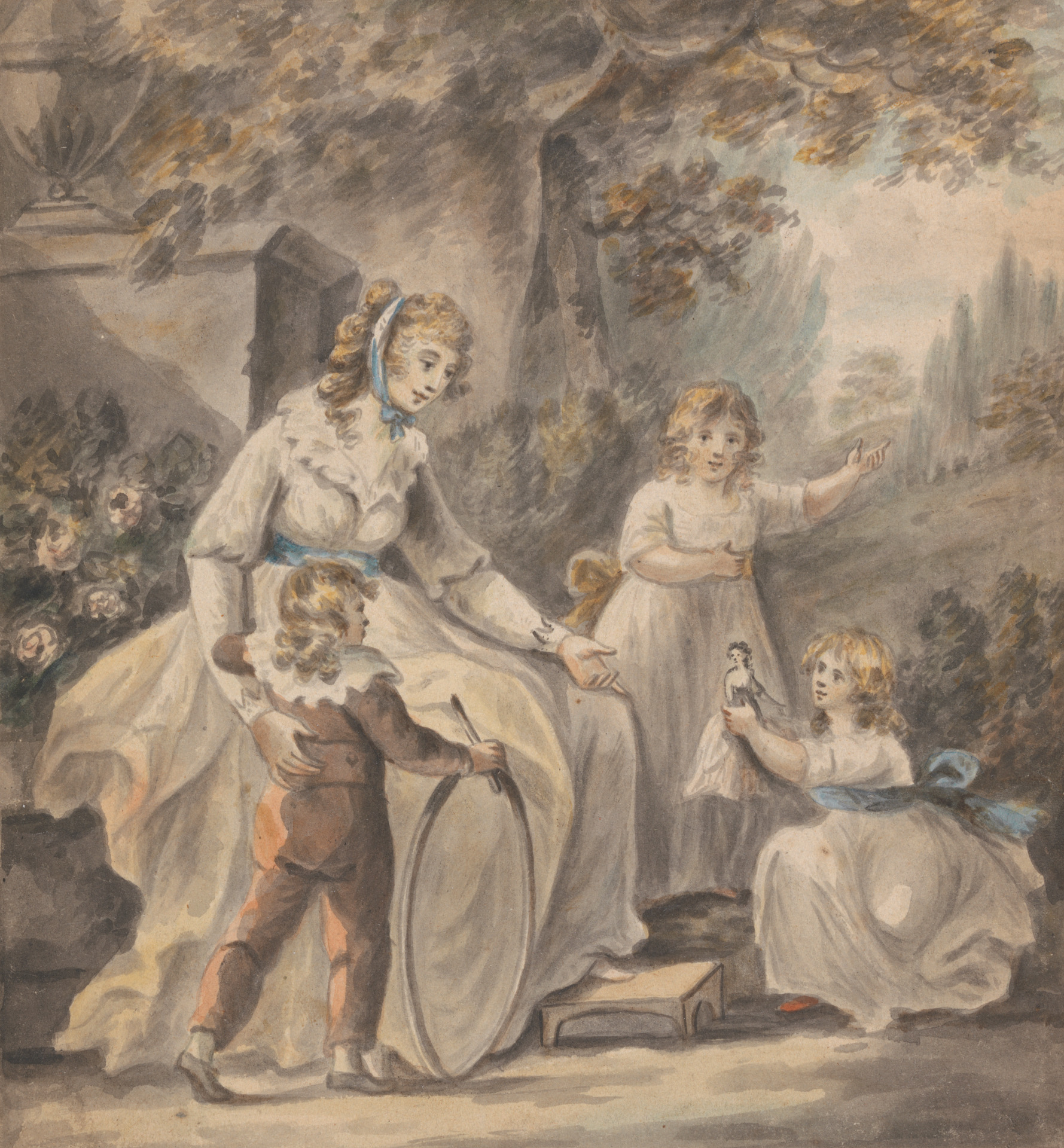 A Nurse with Three Children by Paul Sandby, c 1800.