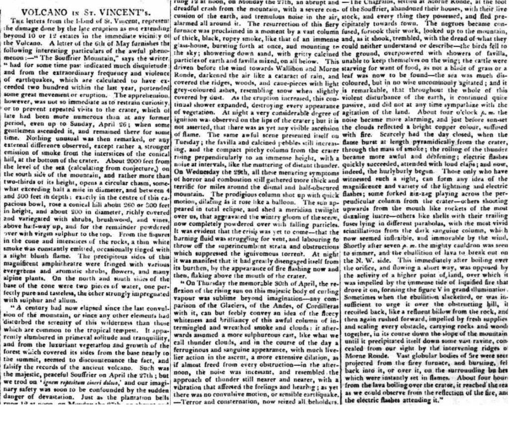 newspaper report of eruption of la soufrière 1812