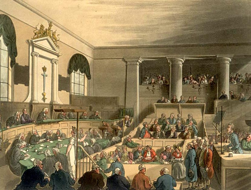 The Old Bailey (1808), by Thomas Rowlandson, from the Microcosm of London