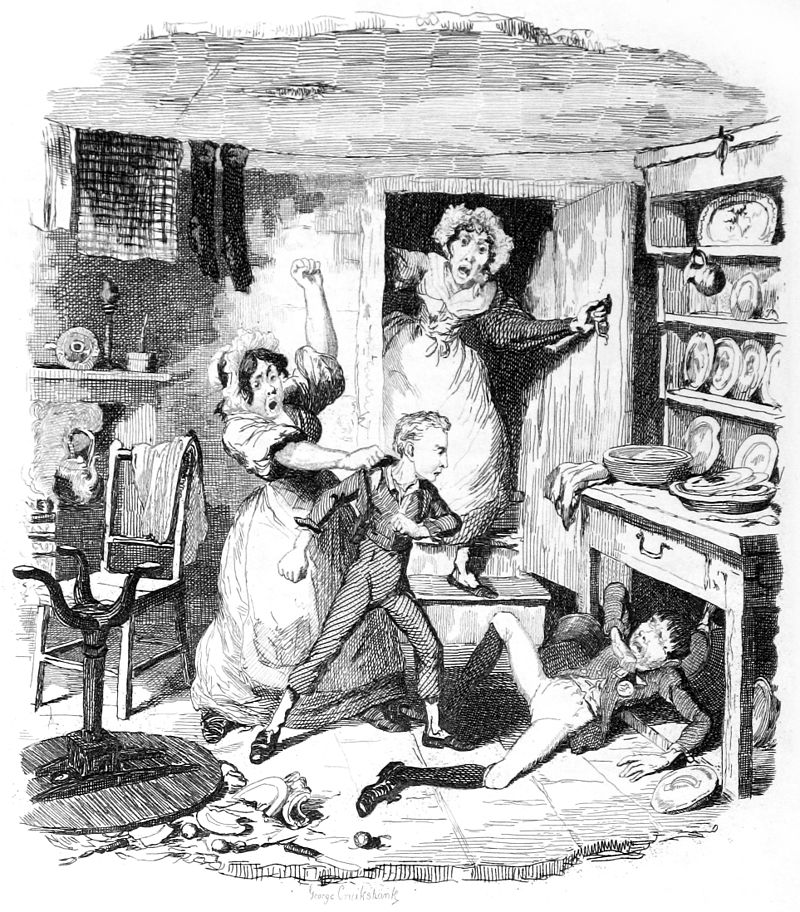"George Cruikshank, Oliver Twist: ""Oliver plucks up a Spirit"""