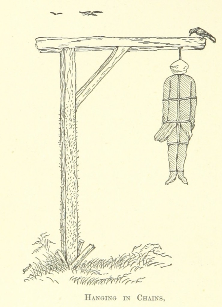 Hanging in chains, from West-Country Stories and Sketches, Biographical and Historical by William Henry Hamilton Rogers 1895)