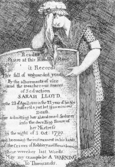 engraving of sarah lloyd's grave