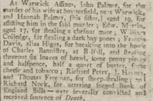 Hannah Palmer: Executed with her brother for the murder of his wife (1801)