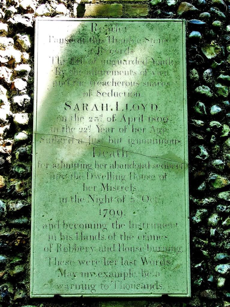 Sarah Lloyd's gravestone, photographed by @jh_heather