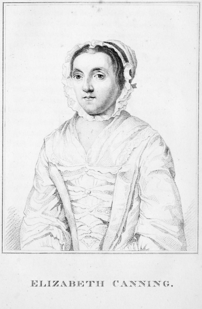 A portrait of Elizabeth Canning (created 1820) from James Caulfield's Portraits, Memoirs, and Characters of Remarkable Persons, from the Revolution in 1688 to the End of the Reign of George II