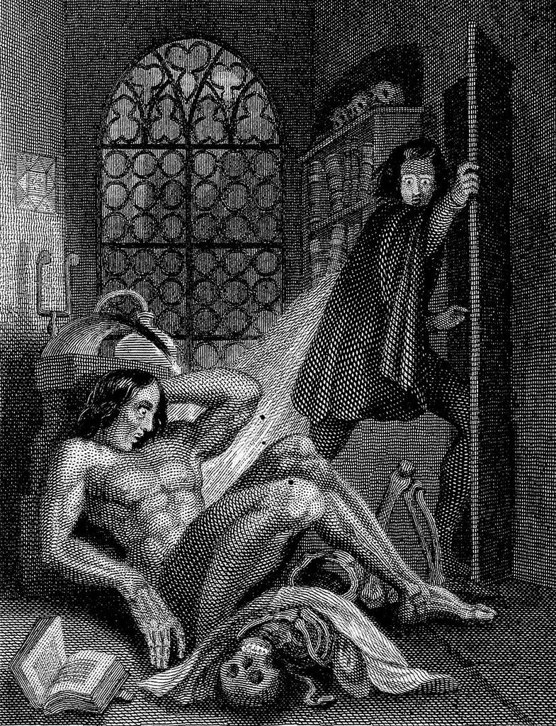 Illustration by Theodor von Holst from the frontispiece of the 1831 edition of Frankenstein