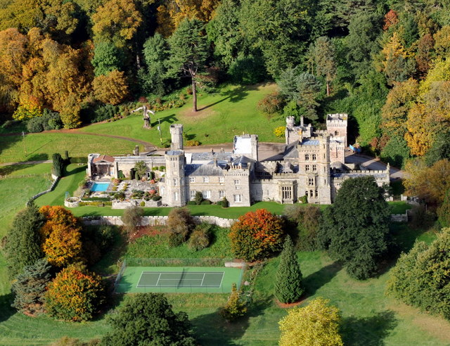 An aerial view of Maesllwch Castle, near Glasbury. © Copyright Ray Jones and licensed for reuse under this Creative Commons Licence