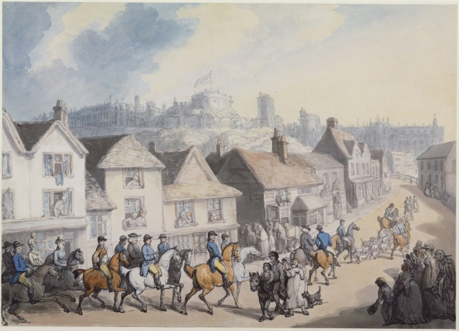 King George III returning from hunting through Eton. Notice the poor family in close proximity. George is the figure on the white horse.