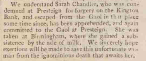 Hereford Journal, 6 November 1816.Courtesy of the British Library.