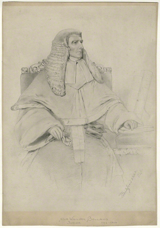 Justice William Bolland, by Thomas Bridgford lithograph, 1840 NPG D31931 © National Portrait Gallery, London