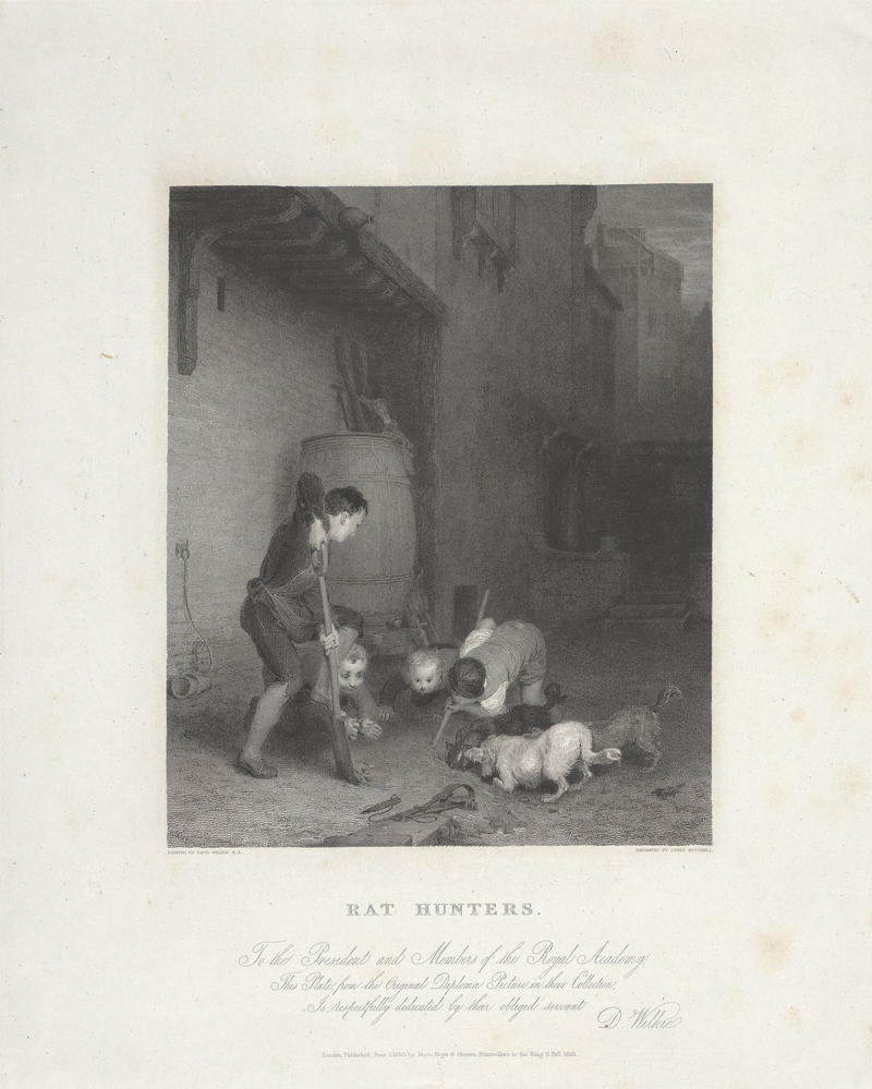 Rat Hunters (1830) by James Mitchell, Engraving. Courtesy of Yale Center for British Art, Paul Mellon Collection