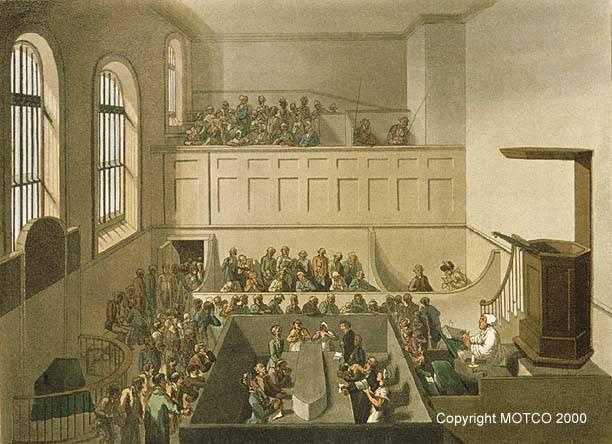 The condemned sermon in Newgate chapel. From Ackermann's Microcosm of London (1808). Image via MOTCO.