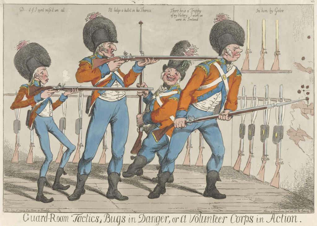 Charles Ansell, Guard-Room Tactics; Bugs in Danger; or a Volunteer Corps in Action (1798). Courtesy of Yale Center for British Art, Paul Mellon Collection.
