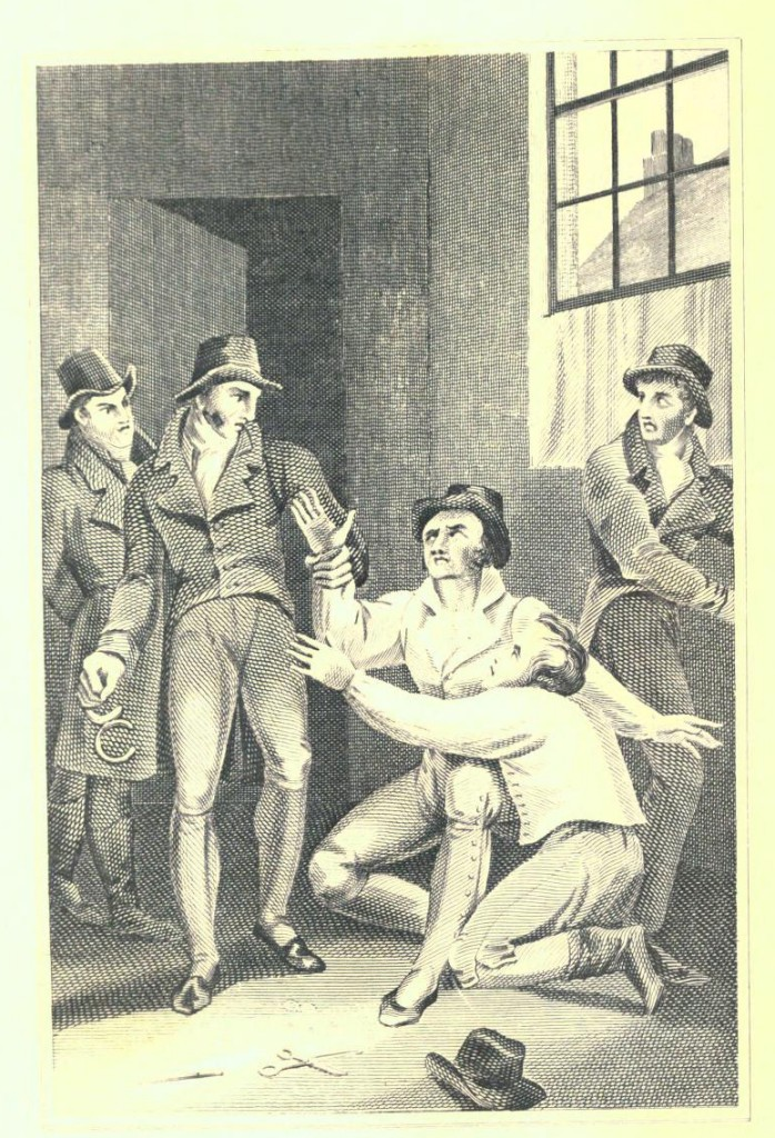 Bow Street Runners arrest Thomas Brock, Thomas Pelham and Michael Power for currency offences (1816). From George Wilkinson, The Newgate calendar improved; being interesting memoirs of notorious characters who have been convicted of offences against the laws.