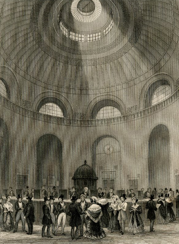 Rotunda at the Bank of England: Payment of dividends. Illustration to 'London Interiors' (1841-44). © The Trustees of the British Museum
