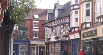 Market Drayton, Shropshire: At the corner of Cheshire Street and Shropshire Street.  © Copyright M J Richardson and licensed for reuse under this Creative Commons Licence