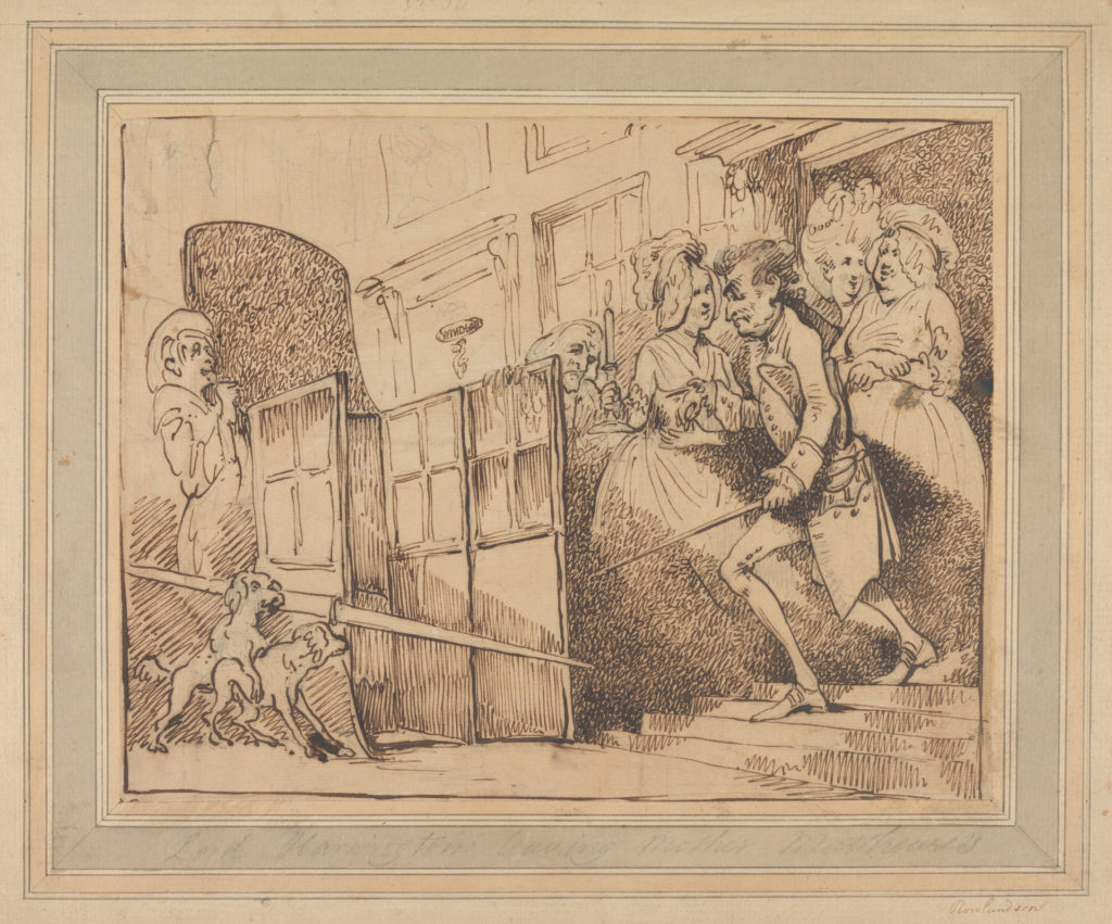 Lord Harrington Leaving Mother Matthew's, by Thomas Rowlandson, courtesy of Yale Center for British Art, Paul Mellon Collection