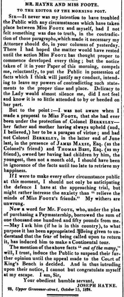 Morning Post, 16 October 1824 © British Library