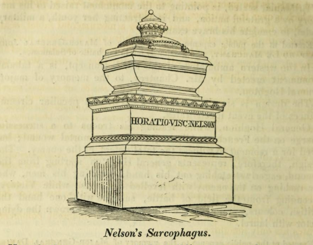 Nelson's sarcophagus in St Paul's Cathedral,London