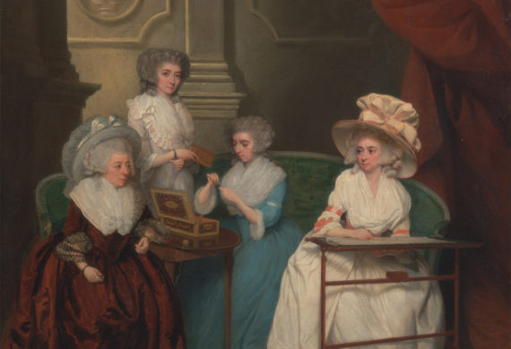painting of Lady Jane Mathew and her daughters sewing